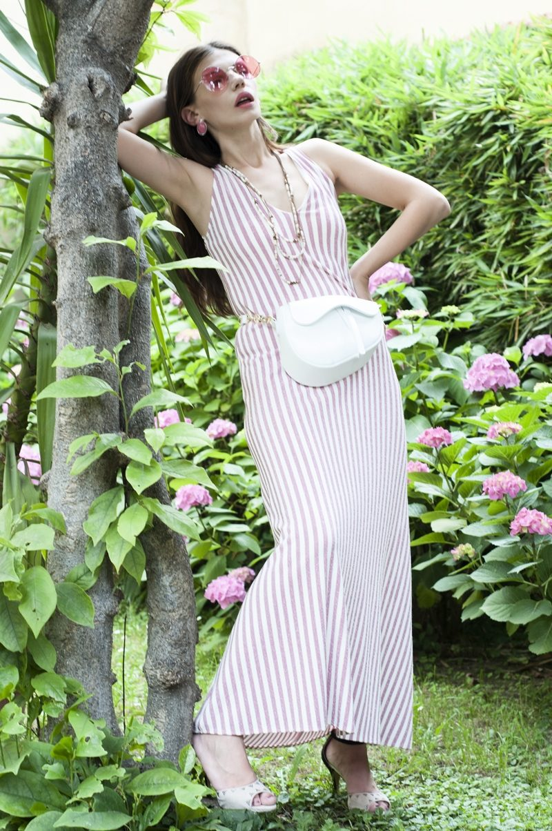MY OUTFIT  Alb și roz: Rochia de vară cu dungi